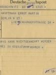 Telegramm an Ernst Martin / Telegram to Ernst Martin